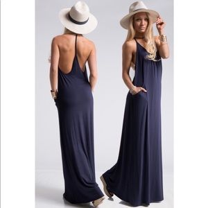 Dresses & Skirts - 🔥JUST IN!⭐️💕Navy Jersey T-Strap Maxi w Pockets
